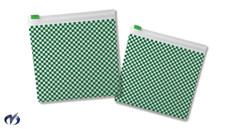 市松模様(緑)チャック付きビニールケース