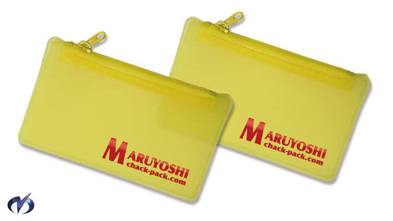 黄色のファスナー付き塩ビポーチ